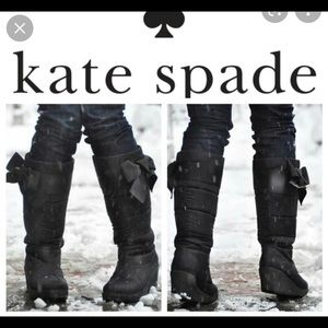 Kate Spade wedge puffer winter boots w/ bows US6.